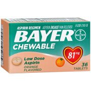 Bayer Low Dose 'Baby' Aspirin, 81mg Chewable Orange, 36 ea