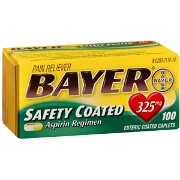 Bayer Aspirin Pain Reliever, Safety Coated, 325mg, Caplets, 100 ea