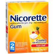 Nicorette Nicotine Gum 2mg, Fruit Chill, 100 ea