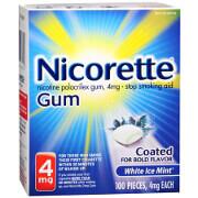 Nicorette Nicotine Polacrilex Gum, White Ice Mint, 4mg, 100 ea