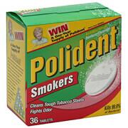 Polident Denture Cleanser Antibacterial Smokers Tablets 36 ea