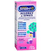 Benadryl-D Allergy & Sinus Liquid, Grape, 4 fl oz
