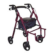 Drive Duet Transport Wheelchair Chair Rollator Walker, #795BU, Burgundy