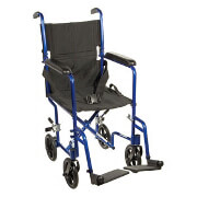 "Drive 19"" Aluminum Transport Chair , Blue Frame and Black Upholstery, ATC19-BL"