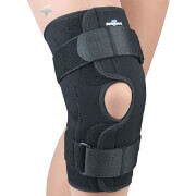 FLA Orthopedics Safe-T-Sport Hinged Knee Stabilizing Brace, XL, Black