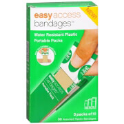 Easy Access Bandages Water Resistant Plastic Portable Packs, Assorted, 30 ea