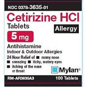 Mylan Lab Cetirizine Hydrochloride OTC 5mg, 100 ea