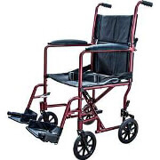 Cardinal Health Aluminum Lightweight Transport Chair, Burgundy