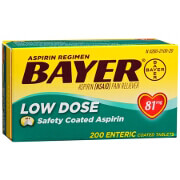 Bayer Low Dose 'Baby' Aspirin Pain Reliever, 81mg Enteric Coated Tablets, 200 ea