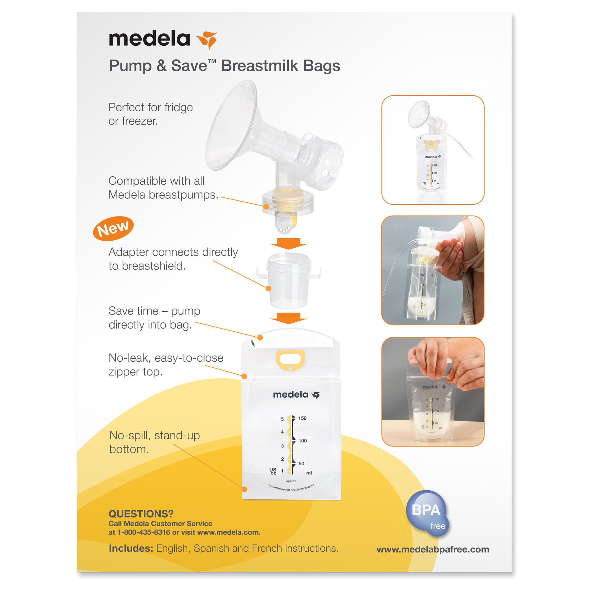 Medela Pump Amp Save Breast Milk Bags With Adapters 50 Pack