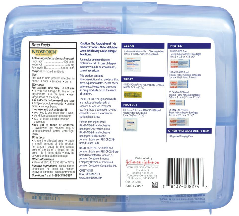e8dd71150cc76 Johnson & Johnson First Aid Kit, Safe Travels, 70 pc | FSAstore.com