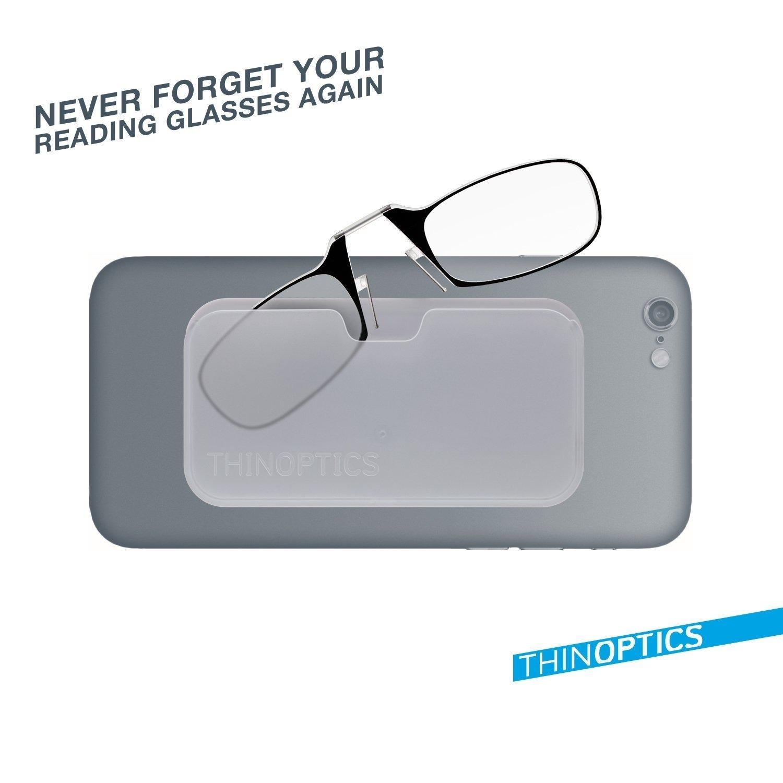 41b388a8b833 ThinOPTICS Reading Glasses on your Phone, +1.50 Black Glasses, White Universal  Pod Case