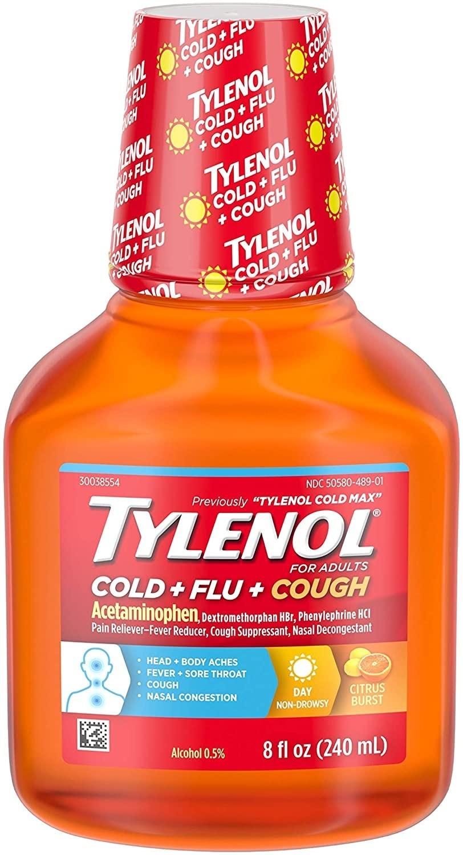 Tylenol Cold + Flu + Cough, Cold Medicine, Liquid Daytime Flu Relief,  Citrus Burst, 8 fl. oz   FSAstore.com