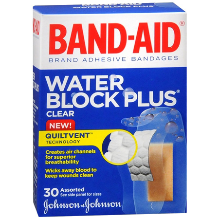 Band-Aid Water Block Plus Clear Transparent Adhesive Bandages, 30 ea