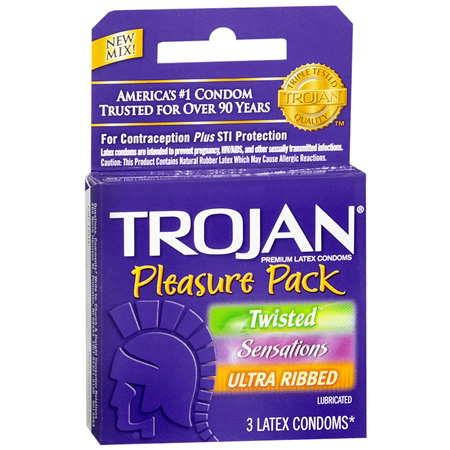 Trojan Pleasure Pack Lubricated Premium Latex Condoms, 3 Pack 284244
