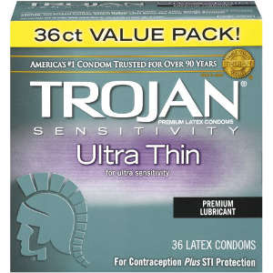 Trojan Ultra Thin Lubricated Latex Condoms, 36 ea 38962