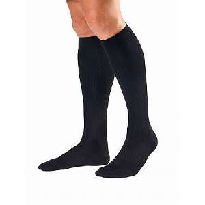 BSN Jobst® For Men Knee-High Ribbed Extra Firm Compression Socks, Closed Toe, Large, Black 422932
