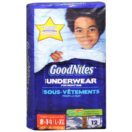 GoodNites Boys Underpants, L/XL (60-125 lbs), 12 ea (Pack of 4)