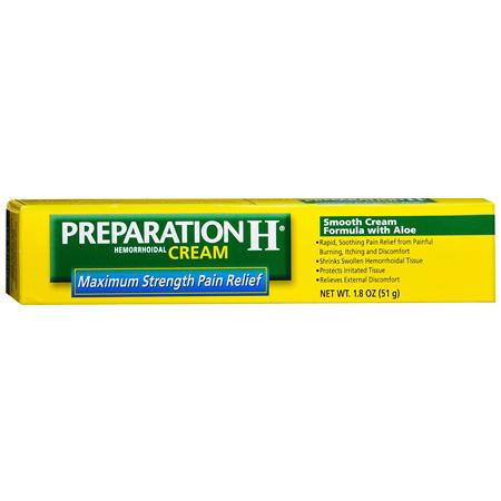 Preparation H Hemorrhoidal Cream, Maximum Strength Pain Relief, 1.8 oz 95091